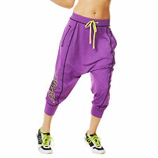 Zumba Fitness Let's Go Halfsies Harem Pants! Cut N Paste Purple! FAST SHIPPING!