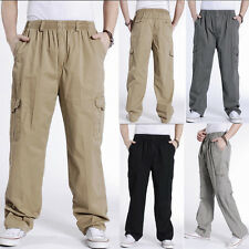 yellow wholesale Men Multiple pockets Cotton Blend Trousers The color can choose