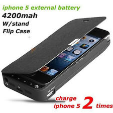 Flip Cover 4200mah power bank external charger Battery Back CASE for iphone 5 5S