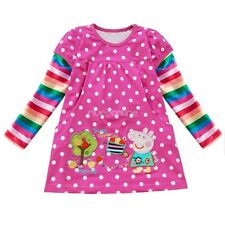 Mädchen Kinder Peppa Pig Polka Dots Langarm Top T-shirt Kleid Tunika Gr. 92-116
