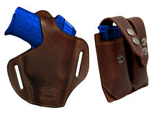 NEW Barsony Brown Leather Pancake Holster+Dbl Mag Pouch Sig, Walther Comp 9mm 40