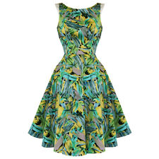 Hearts and Roses London Green Leaves Rockabilly Retro Dress Vintage Pin Up