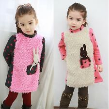 Kids Toddlers Girls Star Fleece Lined Rabbits Shirt Sweatshirt Dress 3-8 Y S412