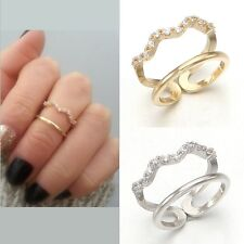 Two Lines Cubic Zirconia Pave Setting Zigzag Band Open Above The Knuckle Ring
