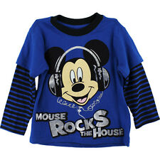 "Disney Mickey Mouse ""Rocks the House"" Long Sleeve T-Shirt TopTee Shirt  2T 3T 4T"