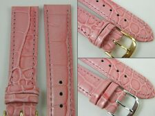 HQ 10~20MM MULTI PINK ITALY LEATHER WATCH BAND GLOSS SPECIAL CROC GRAIN STRAP