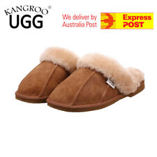 Unisex Genuine Australian Mens/Womens/Ladies Sheepskin Scuff Slippers Warm Shoes