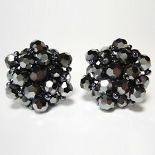 Lot of Clip On Earrings for Women Czech Hematite Crystal Beads Vintage Earings