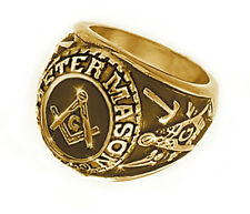 Free Mason Ring - Freemasonry College Style GOLD Color Steel Mens Masonic Rings