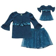 Dollie & Me Girl 10-14 and Doll Matching Blue Skirt Outfit Clothes American Girl