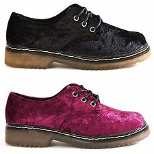Womens Faux Velvet/velour Laceup Classic Flat Military (UK 3-8 / US 5-10) NEW