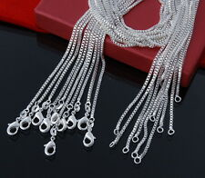 "WHOLESALE LOT 10PCS BOX CHAIN NECKLACES 2MM 16""-24"" IN 925 STERLING SILVER"