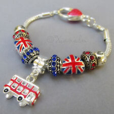 British Pride European Charm Bracelet w Union Jack And Double Decker Bus Beads