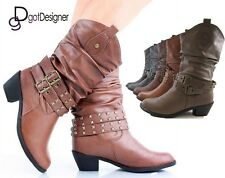 NEW Women's Cowboy Cowgirl Western Boots Heels Combat Slouch Roper Stud Buckle