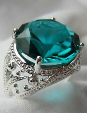 New Calypso Green Amethyst RoundCushion Cut Sterling Silver Ring - Size 8 & 9