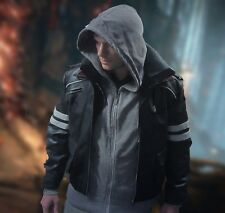 ALEX MERCER Prototype Embroidered Leather Jacket Coat & Inside Hoody Cosplay