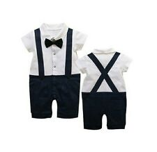 Baby Boy Formal Tuxedo SHORT Sleeve One-Piece Romper Suit size 00/0/1/2