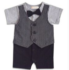 Baby Boy Formal Tuxedo One-Piece Romper Vest Suit Short Sleeve SIZE 000 1-6 mos