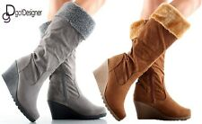 NEW Womens Shoes Knee High Mid Calf Slouch Boots Comfort Casual Fur Round Toe