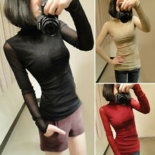 Back Perspective Tops Blouse Sheer Mesh High Collar Bottoming Basic T-Shirt