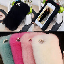 Luxury Winter Warmer Rex Rabbit Fur Back Case Cover For Apple iPhone 4 4S 5 5S