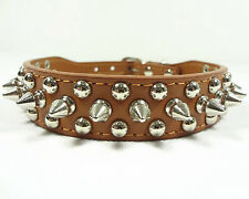 Spiked Studded Rivets Brown PU Leather Dog Collar Pet Collar Size XS S M L