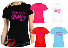 Womans Funny Pink Barbie Logo / Slogan Fitted T-Shirt - What Would Barbie Do ?