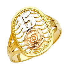 14K Tri-Tone Gold Sweet Quinceanera 15-Anos Ring with Rose Flower Design