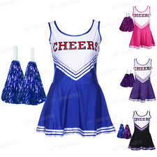 HIGH SCHOOL MUSIC CHEER LEADER GIRL UNIFORM COSTUME FANCY DRESS SKIRT POM POMS