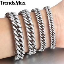 6.5/9/11/13mm Mens Chain Curb Cuban Rombo Silver Tone Stainless Steel Bracelet
