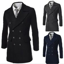2014 Mens Slim Fit Double Breasted Casual Double Breasted Woolen Trench Coat Top