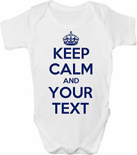 KEEP CALM & ??? (YOUR OWN TEXT HERE)  BABY VEST / GRO /BODYSUIT -ANY COLOUR TEXT