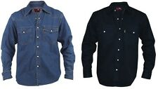 Mens Classic Denim Shirt Long-Sleeved Cotton Western Black Stone Wash Size S XL
