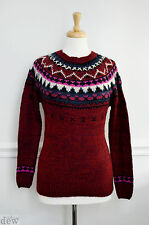 FAIRISLE JUMPER NEW LOOK 18940's vintage RETRO burgundy wine WINTER 12 14