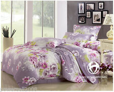 Comfortable Soft Cotton Flowers Sanding Thicken Quilt Cover Set Home Bedding &$