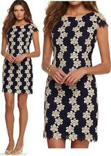 $378 Lilly Pulitzer Barbara True Navy & Gold Two Tone Truly Petal Lace Dress