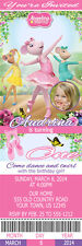 Printed Angelina Ballerina Custom Birthday Party Pink 1st Ticket Invitations
