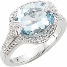 Genuine Aquamarine Solitaire & 1/2 Ct TW Diamonds Ring 14K. White Gold Sizes 6-8