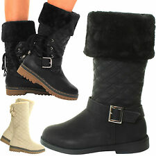 WOMENS LADIES FLAT KNEE HIGH CALF QUILTED FUR LINED GIRLS WINTER SNOW BOOTS SIZE