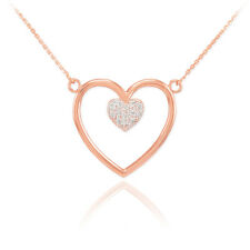 14K Rose Gold Open Heart with Enclosed Heart Inside 13 Diamonds Pave Necklace