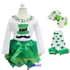 Girl St Patricks Day Green Tutu Hat Mustache White Tee Warmers 4pc Party Dress