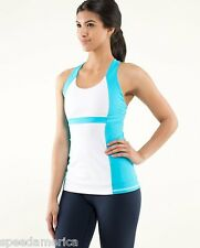 NWT Lululemon White Spry Blue Run Fast Track Tank Top with Cups Size 2 4 $58