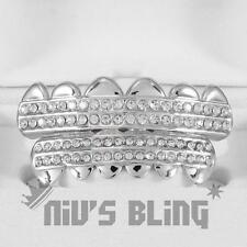 Silver Iced Out GRILLZ CZ Icy Premium Tooth Mouth Teeth Cap Hip Hop Bling Grills
