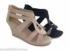 Women's Fashion Sandals Cute Wedge Heel Platform Open Toe Ankle Strappy Shoes