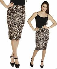 Lined LEOPARD Stetch Fitting Knee length Pencil SKIRT High Waisted Waist Work