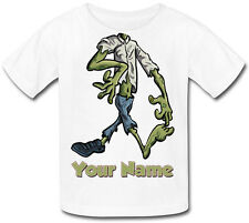 ZOMBIE BODY PERSONALISED CHILDS T-SHIRT -GREAT KIDS FANCY DRESS GIFT & NAMED TOO