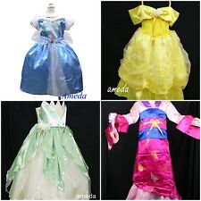 GIRLS DELUXE PRINCESS BELLE CINDERELLA TIANA FROG MULAN PARTY DRESS COSTUME 3-8Y