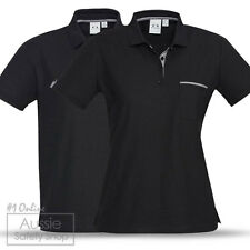 3 X MENS LADIES BLACK/CHECK STYLISH MODERN CORPORATE OFFICE BUSINESS POLO SHIRTS