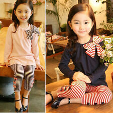 New Girls Striped Bow Tops  + Leggings Set Size 2-7Y  Clothing Outfit  TS037