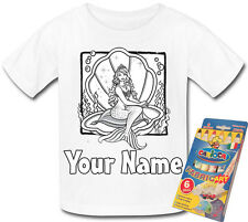MERMAID & SHELL PERSONALISED COLOUR IN YOUR OWN T-SHIRT *FUN NAMED GIFT PRESENT*